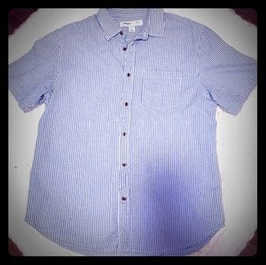 Blue and white stripes button down